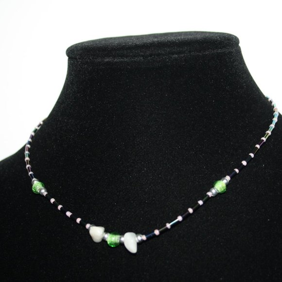 """Beautiful glass and stone necklace 16"""""""